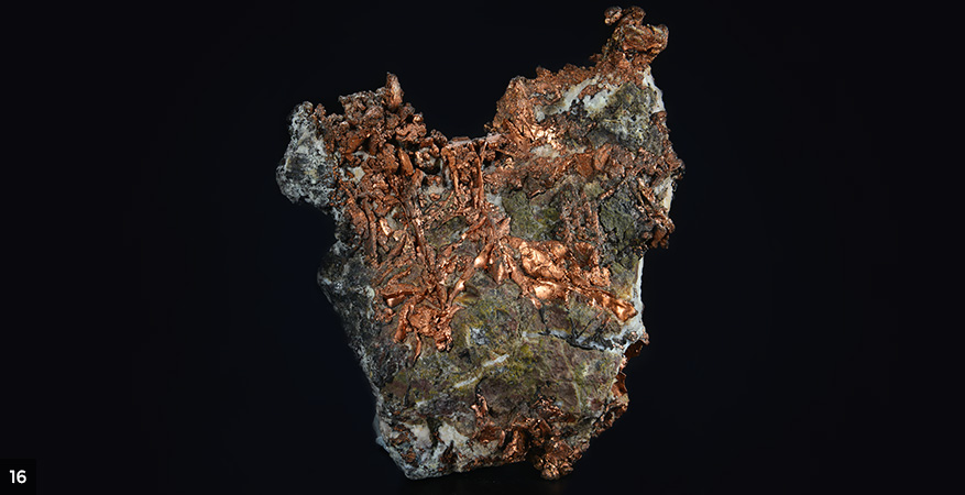 Native copper in carbon and silicon matrix -	Natural mineral, Impruneta mine, Florence